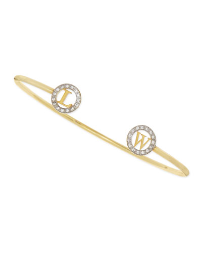 Kacey K 14k Initial-Cap Cuff Bracelet with Diamonds