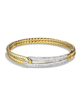 David Yurman Labyrinth Single-Loop Bracelet with Diamonds in Gold