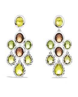 David Yurman Chandelier Earrings with Lemon Citrine, Smoky Quartz, and Peridot