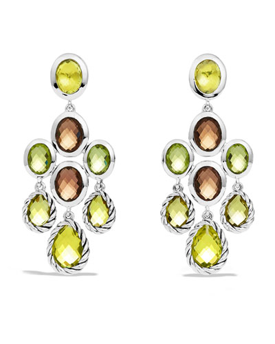David Yurman Color Classics Chandelier Earrings with Lemon Citrine, Smoky Quartz, and Peridot