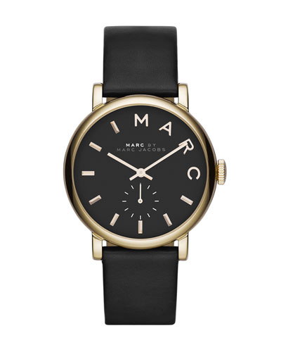 MARC by Marc Jacobs Baker Analog Watch with Leather Strap, Golden/Black