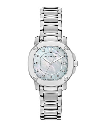 Burberry 34mm Octagonal Stainless Steel Watch with Mother-of-Pearl & Diamonds