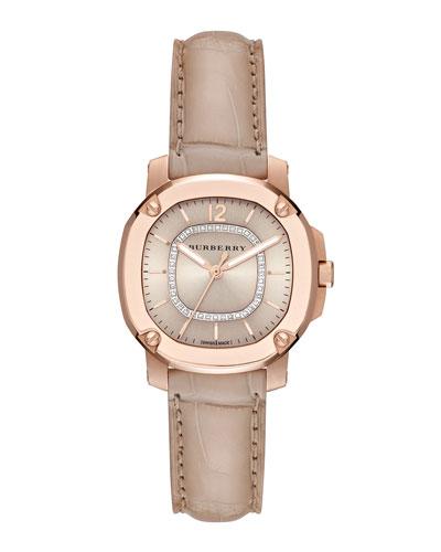 Burberry 34mm Octagonal Rose Golden Watch with Diamonds & Alligator Strap