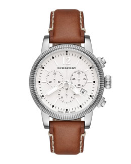 Burberry 42mm Round Stainless Steel Chronograph Watch with Leather Strap