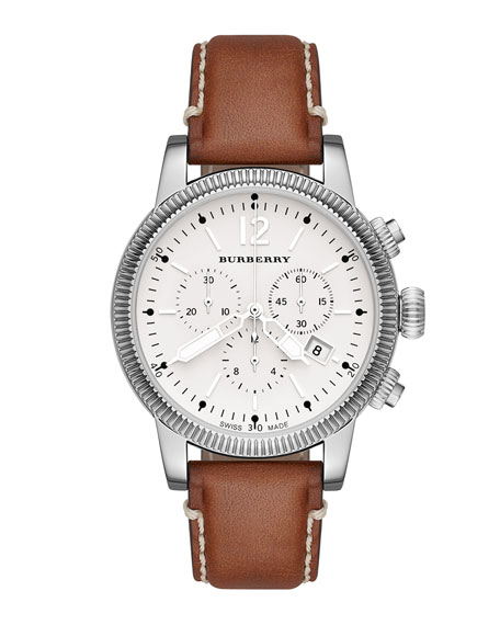 Burberry 42mm Round Stainless Steel Chronograph Watch with