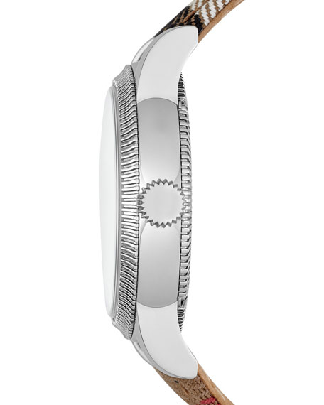 38mm Round Stainless Steel Watch with Check Strap