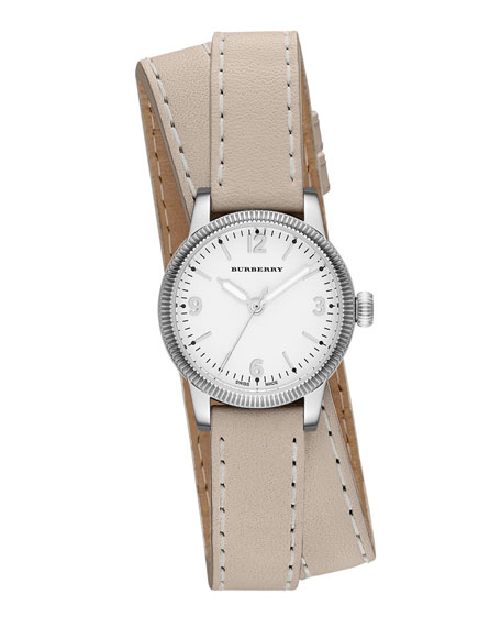 30mm Round Stainless Watch with Double-Wrap Tan Leather Strap