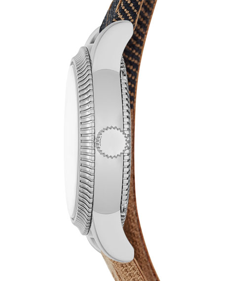 30mm Round Stainless Watch with Double-Wrap Check Strap
