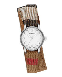 Burberry 30mm Round Stainless Watch with Double-Wrap Check Strap