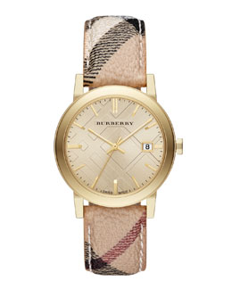 Burberry 38mm Golden Watch with Check Strap