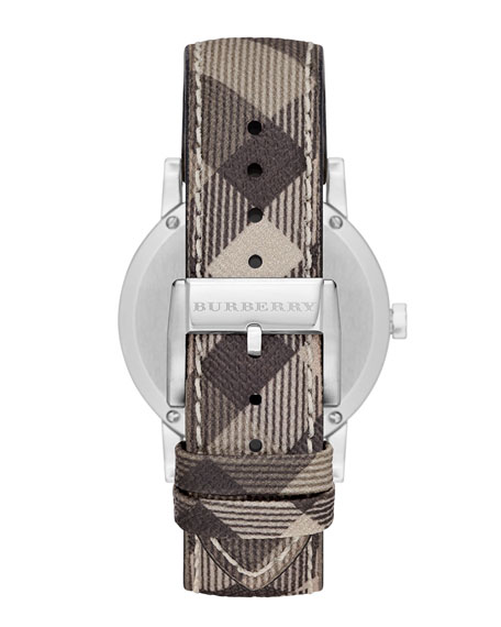 38mm Stainless Steel Watch with Check Strap