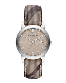 Burberry 38mm Stainless Steel Watch with Check Strap
