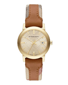 Burberry 34mm Golden Watch with Check & Leather Strap