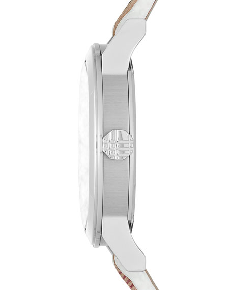 Image 3 of 4: 34mm Round Stainless Steel Watch with Check Strap