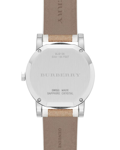 34mm Round Stainless Steel Watch with Check Strap
