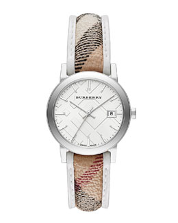Burberry 34mm Round Stainless Steel Watch with Check Strap