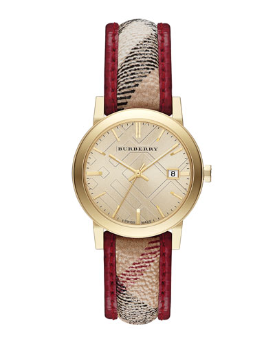 Burberry 34mm Round Golden Watch with Check Strap