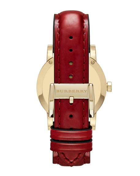 34mm Round Golden Watch with Red Leather Strap