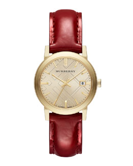 Burberry 34mm Round Golden Watch with Red Leather Strap