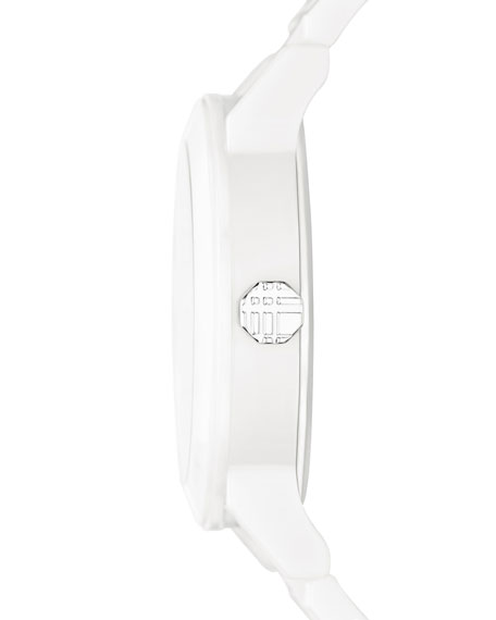 34mm White Round Ceramic Watch with Diamonds