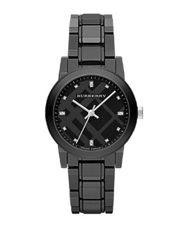 Burberry 34mm Black Round Ceramic Watch with Diamonds