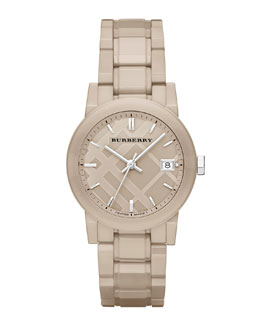 Burberry 34mm Trench Round Ceramic Watch with Diamonds