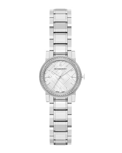 Burberry 26mm Round Stainless Steel Tonal Dial Watch with Diamonds