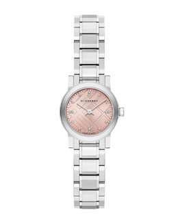 Burberry 26mm Round Stainless Steel Pink Dial Watch with Diamonds