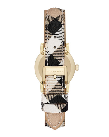 26mm Golden Watch with Mother-of-Pearl Dial & Check Strap