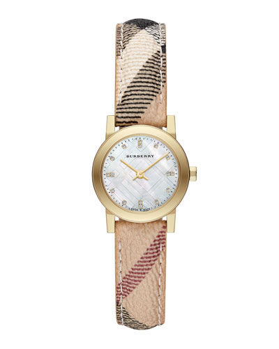 Burberry 26mm Golden Watch with Mother-of-Pearl Dial & Check Strap
