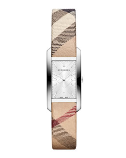 Burberry 20mm Rectangle Stainless Steel Watch with Check Strap