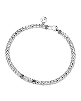 John Hardy Bedeg Sterling Silver Beaded Bracelet with Diamonds