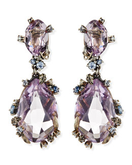 Alexis Bittar Fine Cool Heather Marquise Large 2-Stone Amethyst Clip Earrings