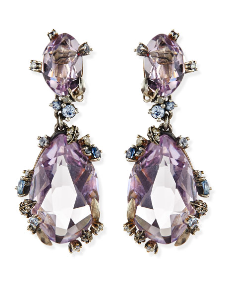 Cool Heather Marquise Large 2-Stone Amethyst Clip Earrings