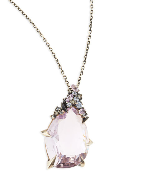 Cool Heather Marquise Amethyst Pendant Necklace with Claw Sapphires & Diamonds