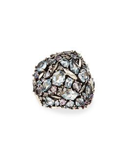 Alexis Bittar Fine Cool Heather Marquise Multi-Stone Cluster Dome Ring with Diamonds