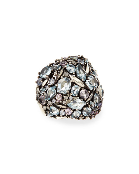 Cool Heather Marquise Multi-Stone Cluster Dome Ring with Diamonds