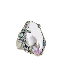 Alexis Bittar Fine Cool Heather Marquis Amethyst Ring with Claw Diamonds & Sapphires