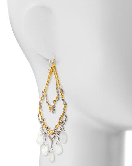 Golden Maldivian Orbiting Teardrop Earrings