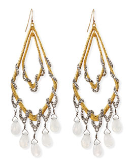 Alexis Bittar Golden Maldivian Orbiting Teardrop Earrings