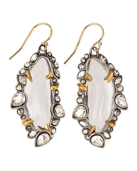 Jardin Mystere Jagged-Edge Crystal-Framed Lucite Earrings, Clear
