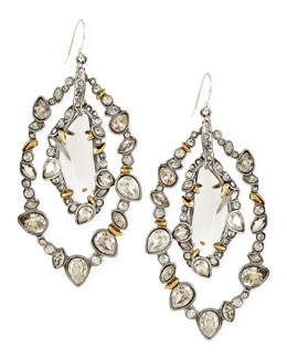 Alexis Bittar Jardin Mystere Silvertone Jagged-Edge Crystal-Orbit Earrings