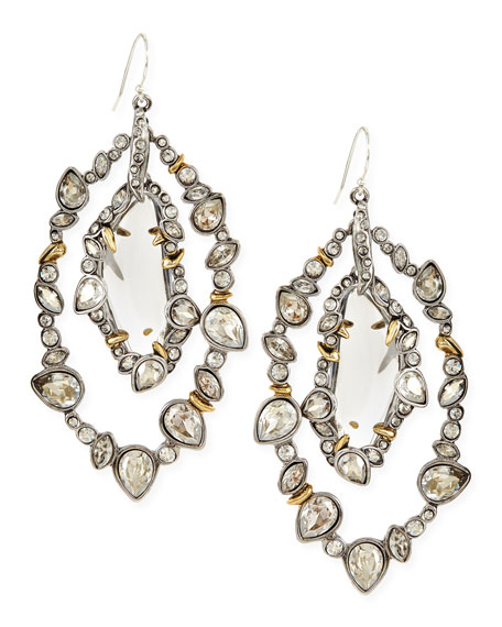 Jardin Mystere Silvertone Jagged-Edge Crystal-Orbit Earrings