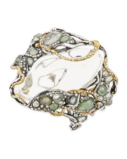 Alexis Bittar Jardin Mystere Big Crystal-Cluster Bracelet with Clear Lucite Center