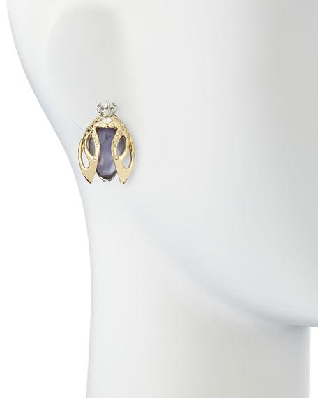 Jardin Mystere Purple Crystal Beetle Clip-On Earrings