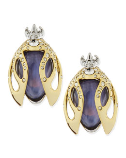 Alexis Bittar Jardin Mystere Purple Crystal Beetle Clip-On Earrings