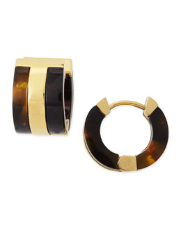 Tory Burch Wyatt Tortoise Enamel Huggie Earrings