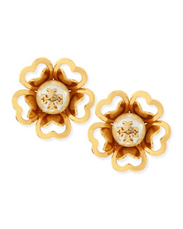 Tory Burch Katie Resin-Pearl Stud Earrings