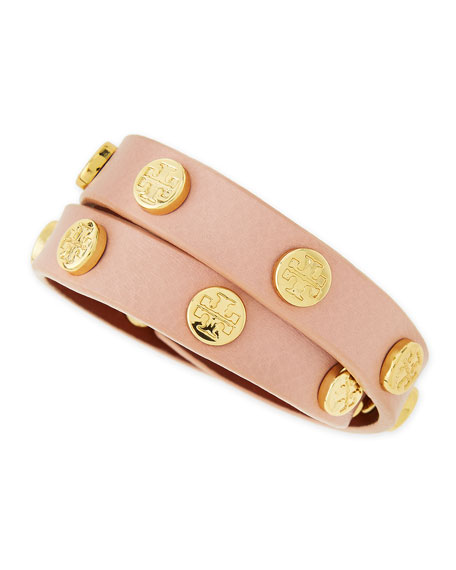 Logo-Studded Double Wrap Leather Bracelet, Petal Pink