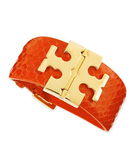 Wide Snake-Embossed T-Hinged Bracelet, Orange